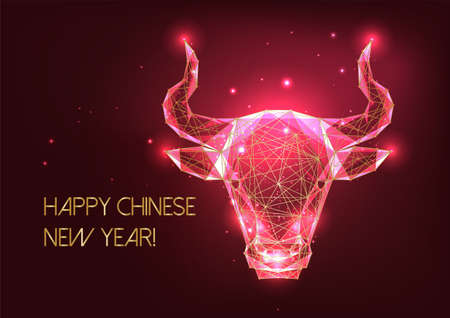 Futuristic Chinese New Year greeting card template with glowing golden low poly ox horoscope sign