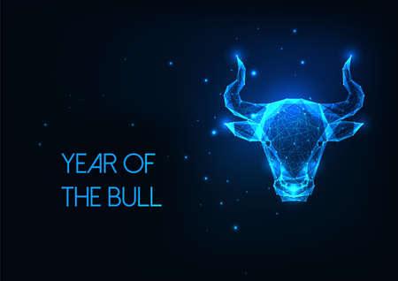 Futuristic glowing low polygonal bull head, ox, taurus horoscope sign isolated on dark blue