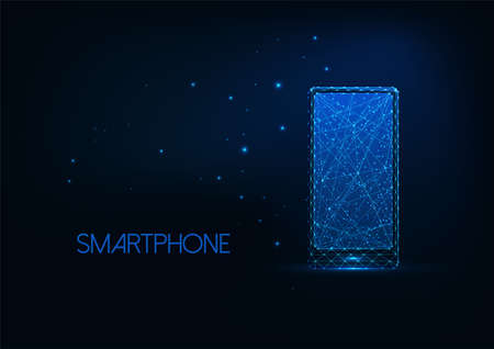 Futuristic glowing low polygona smartphone isolated on dark blue background.