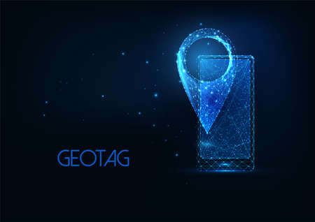 Futuristic smartphone navigation concept with glowing low polygonal cellphone and gpsmap pin icon