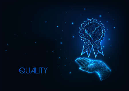 Futuristic premium quality concept with glowing low polygonal hand holding medal