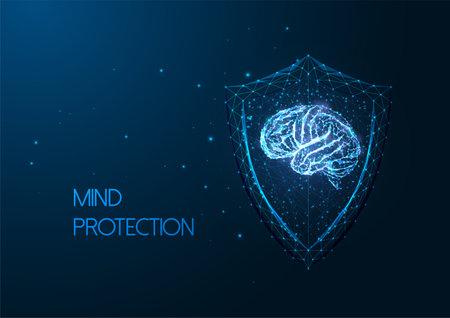 Futuristic mental health concept with gloving low polygonal human brain and protective shield Ilustração