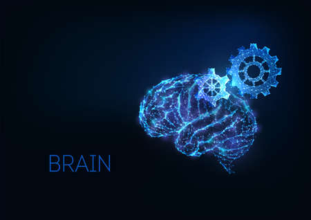 Futuristic brainstorm, creative thinking concept with gloving low polygonal human brain and gears