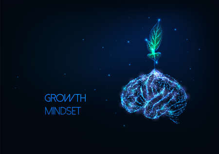 Futuristic growing mindset concept with glowing low polygonal green plant growing from human brain Ilustração