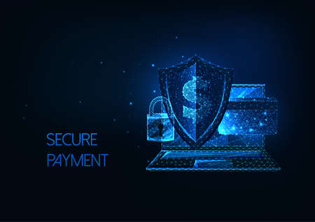 Futuristic secure payment, online banking concept with laptop, sheld, lock, credit card and dollar