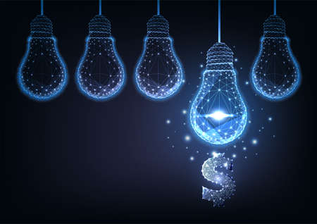 Futuristic financial business ideas concept with glowing low polygonal hanging lightbulbs and dollar 矢量图像