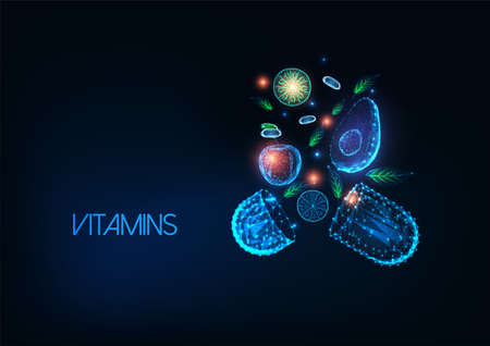 Futuristic healthy eating, vitamin food concept with glowing low poly pill, fruits and vegetables