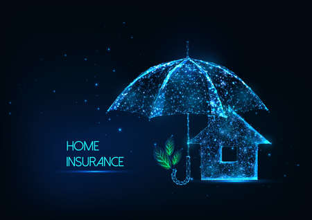 Futuristic home insurance concept with glowing low polygonal house and protective umbrella Ilustração