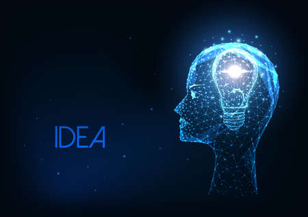 Futuristic creative idea concept with glowing low polygonal human head and light bulb