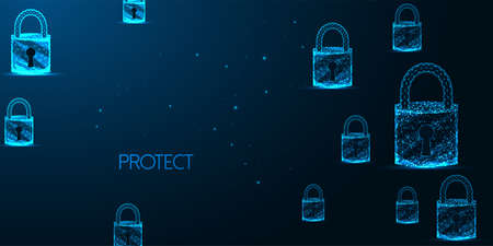 Futuristic cyber security banner concept with glowing low polygonal padlocks on dark blue Ilustrace
