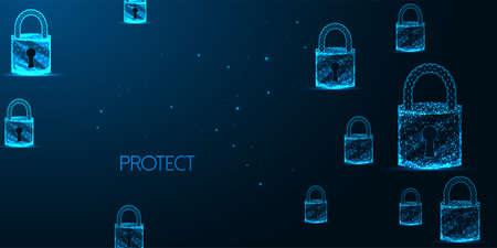 Futuristic cyber security banner concept with glowing low polygonal padlocks on dark blue Ilustração