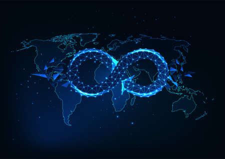 Futuristic global circular economy concept with glowing low polygonal infinity sign on the world map Reklamní fotografie - 163509322