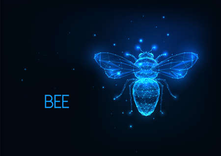 Futuristic glowing low polygonal honey bee isolated on dark blue background