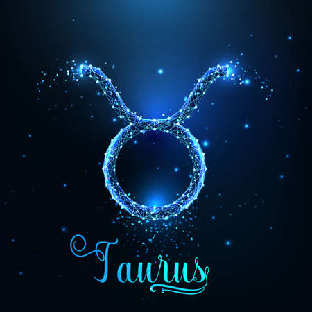 Futuristic glowing low polygonal Taurus zodiac sign concept on dark blue background.