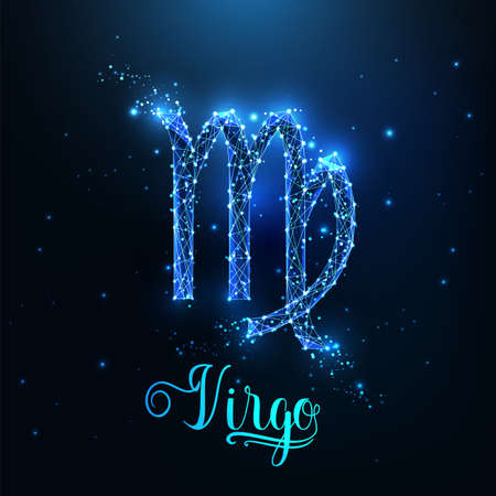 Futuristic glowing low polygonal Virgo zodiac sign concept on dark blue background.