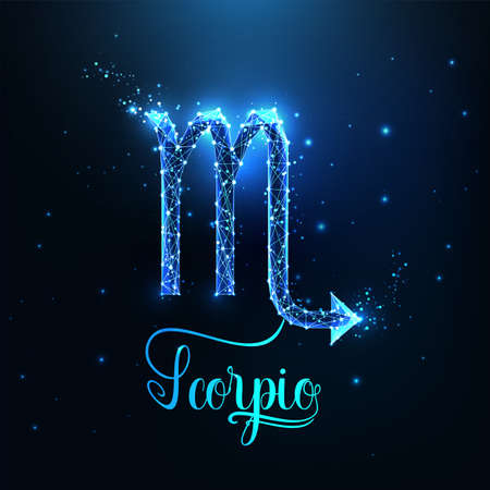Futuristic glowing low polygonal Scorpio zodiac sign concept on dark blue background.