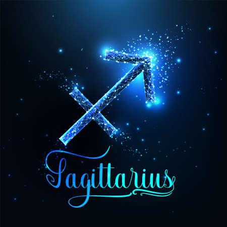 Futuristic glowing low polygonal Sagittarius zodiac sign concept on dark blue background.