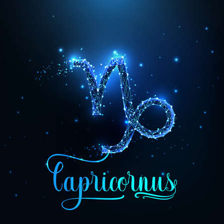 Futuristic glowing low polygonal Capricorn zodiac sign concept on dark blue background.
