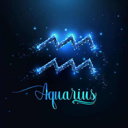 Futuristic glowing low polygonal Aquarius zodiac sign concept on dark blue background.