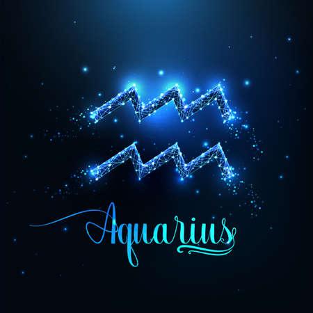 Futuristic glowing low polygonal Aquarius zodiac sign concept on dark blue background. Reklamní fotografie - 166610976