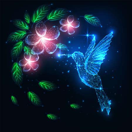 Futuristic glowing low polygonal flying colibri bird, hummingbird and pink flowers 일러스트