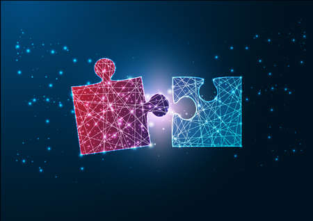 Futuristic glowing wireframe design red and blue jigsaw puzzle pieces fitting each other. Reklamní fotografie - 166705546