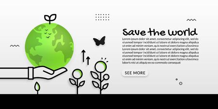 Save the world with hand hold earth background, ecology concept Illustration