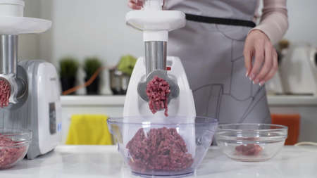 Making raw mincemeat with meat mincer at home. Pile of chopped meat. Electric mincer machine with fresh chopped meat. Preparation of minced beef with an electric meat grinder. Stockfoto