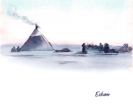 Watercolor illustration of siberian landscape and native people