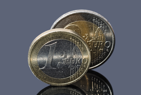 Pair of Euro coins isolated on a gray background