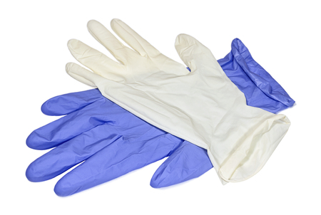 esculapio: White and blue latex gloves