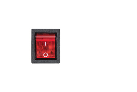 Electric switch closeup isolated on the white background