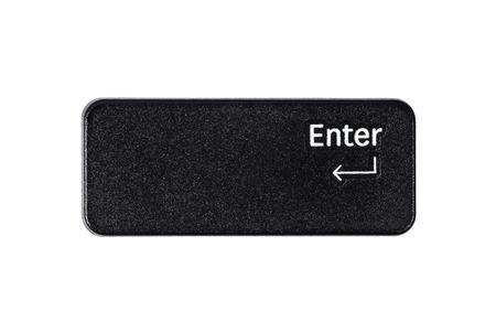 Black enter button closeup on white background