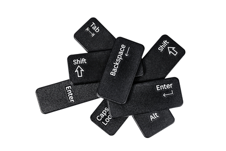 Pile of keyboard buttons on white background