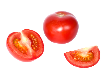 Tomato and slices of tomato isolated on a white background Stock Photo