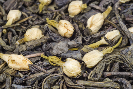 Green tea with dried jasmine flowers closeup