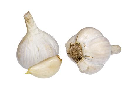 Garlic heads and clove on white background