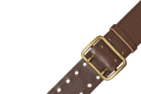 Brown leather belt with bronze buckle