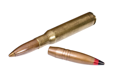 Large-caliber (12,7 mm) cartridge and bullet closeup Stock Photo