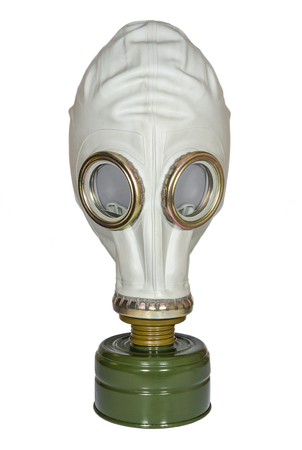 Military gas mask on white background Imagens