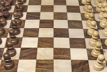 Wood chessboard with set pieces
