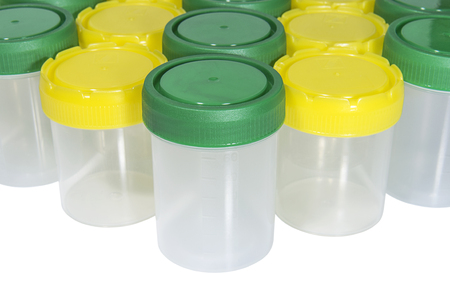 Rows of medical containers for biological material. Healthcare and medicine. Medical equipment. Stok Fotoğraf