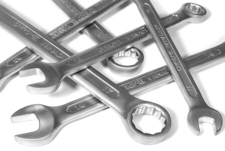 Pile of shiny spanners on white. Hand tools and repair equipment. Stok Fotoğraf