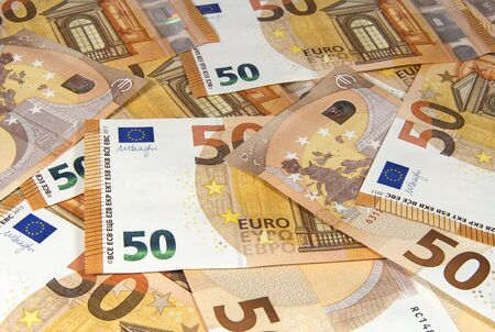 Fifty Euro banknotes of new type close up. Money and finance. Stok Fotoğraf