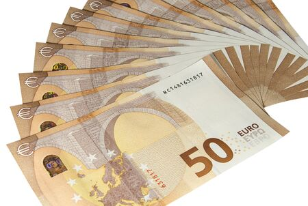 Euro banknotes of a new type close up. Money and finance.