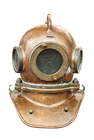 Old diving helmet isolated on white background. Retro and vintage style