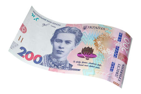 New design banknote of two hundred Ukrainian hryvnias. Business and finance