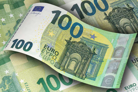 The new sample banknotes of one hundred EURO. Money, business and finance 免版税图像