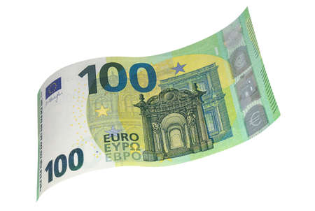 New sample banknote of one hundred EURO on a white background. Money, business and finance
