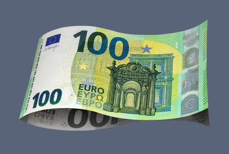 New sample banknote of one hundred EURO on a dark background. Money, business and finance 免版税图像